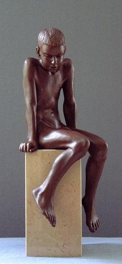 Ira Bronze Sculpture Contemporary Nude Boy Marble Stone Sitting
