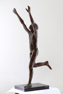 Per Se Bronze Contemporary Sculpture Nude Boy Male Figure Marble Stone
