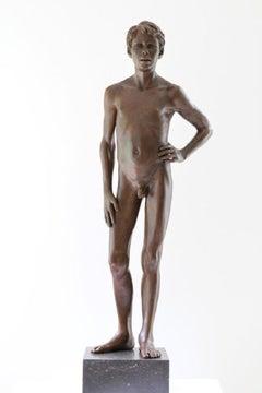 Quis Mihi Iniuriam Facet Bronze Sculpture Nude Boy Male Figure Marble Stone