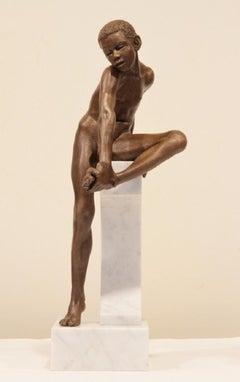 Saltationus Casus Bronze Contemporary Sculpture Nude Boy Marble Stone