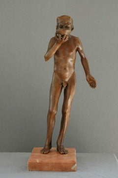 Sorbe Small Bronze Sculpture Nude Boy Drinking Male Figure Marble Stone