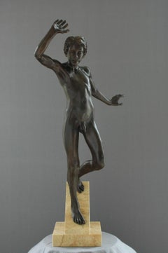 Suspensus Bronze Sculpture Nude Boy Male Figure Marble Stone