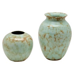 Wim Visser for Sphinx, Maastricht, NL Vases with Verdigris Glaze, 1950
