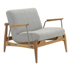Win Armchair Featuring Metal & Teak Frame with Fabric Seating