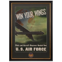 "U.S. Air Force Vintage Recruitment Poster ""Win Your Wings,"" 1952"