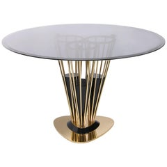 Winchester Dining Table in Brass and Smoked Glass