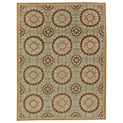 Wind Mill Design Warm Beige, Light Brown, Off-White and Teal Handwoven Wool Rug