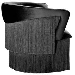 Wind Swivel Armchair with Silk Fringes 21st Century Black