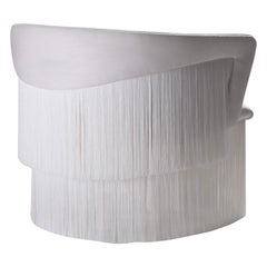 Wind Swivel Armchair with Silk Fringes 21st Century Off White