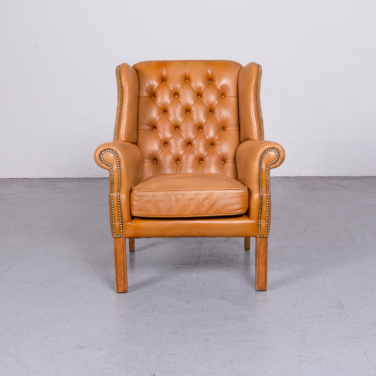 Windmill Chesterfield Leather Armchair Set Cognac One-Seat Vintage Chair In Good Condition In Cologne, DE