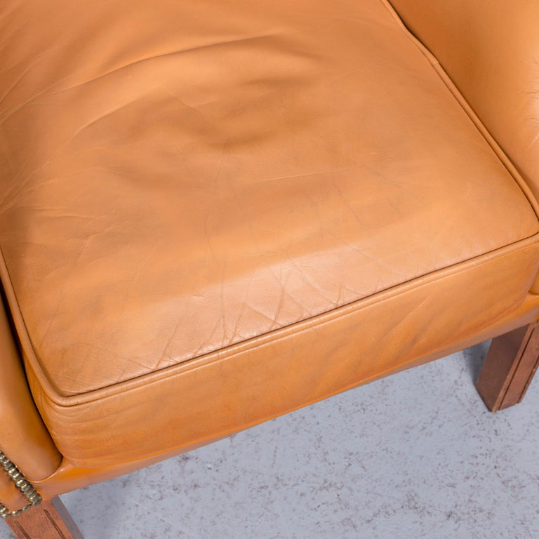 Contemporary Windmill Chesterfield Leather Armchair Set Cognac One-Seat Vintage Chair