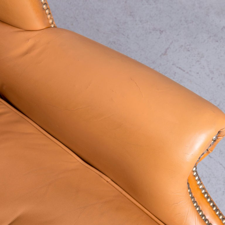 Windmill Chesterfield Leather Armchair Set Cognac One-Seat Vintage Chair 1