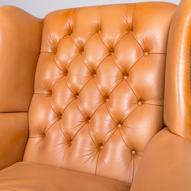 Windmill Chesterfield Leather Armchair Set Cognac One-Seat Vintage Chair 2
