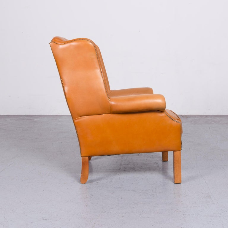 Windmill Chesterfield Leather Armchair Set Cognac One-Seat Vintage Chair 4