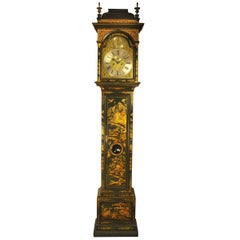 Windmills Green Lacquer Chinoiserie Longcase Clock