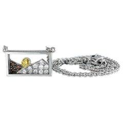"""Window Box"" Necklace in White Gold with Orange Sapphire Sun, Diamond Mountains"