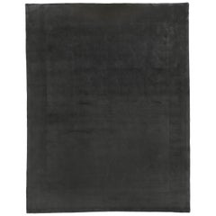 Window Design Dark Grey Wool Area Rug