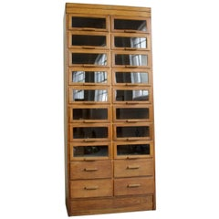 Window Fronted Oak Haberdashery Cabinet, circa 1930s