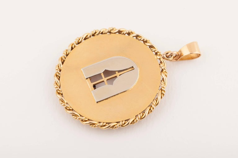 Window to My Heart French Gold Vintage Love Pendant For Sale 1