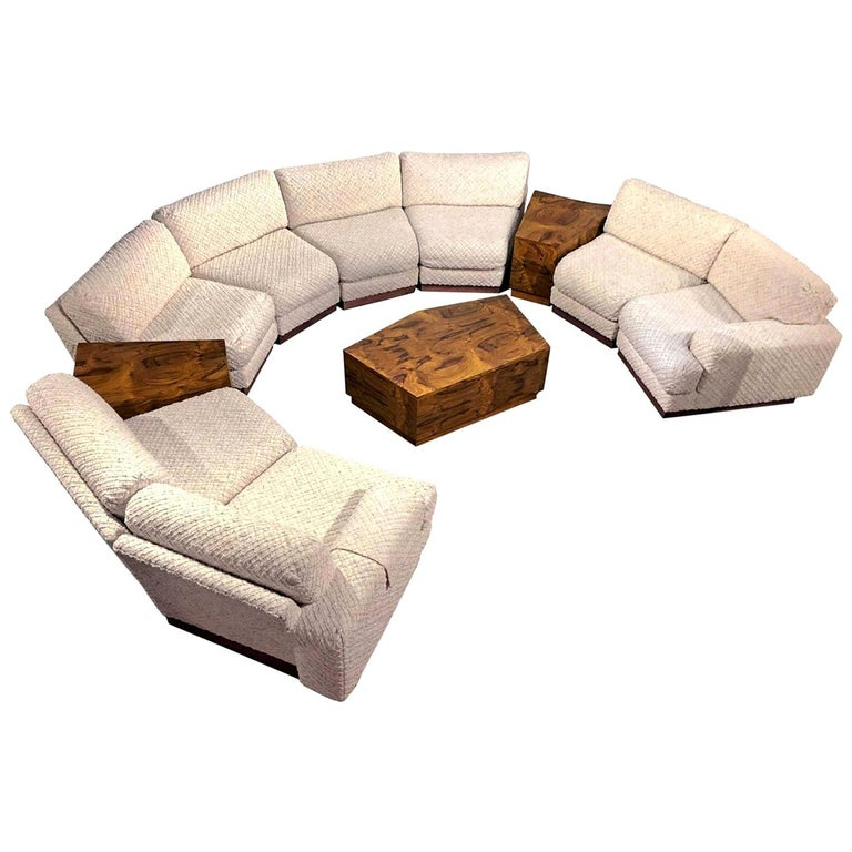 Windsor Sectional Sofa Couch and End Tables Set, Milo Baughman Style 11-Piece For Sale