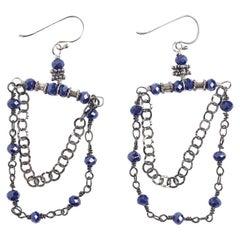 Windu Lapis and Oxidized Silver Chandelier Earrings