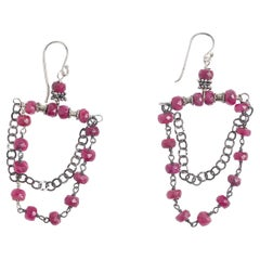 Windu Ruby and Oxidized Silver Chandelier Earrings