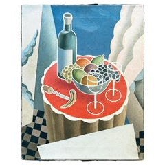 """""""Wine and Fruit Served,"""" Cubist-Art Deco Painting in Red and Blue, France"""