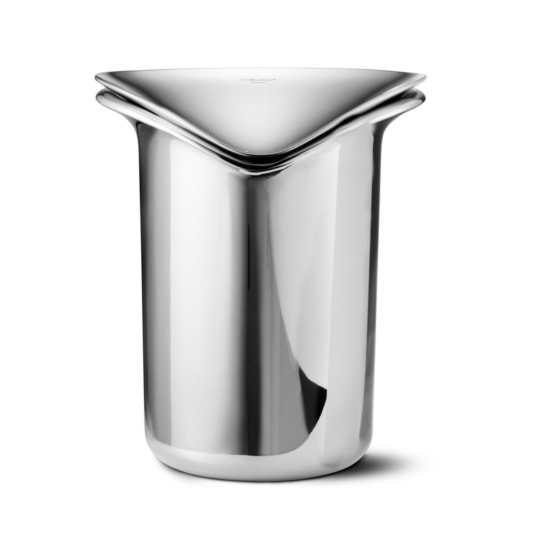 Chinese Wine & Bar Ice Bucket Stainless Steel Mirror Finish by Georg Jensen For Sale