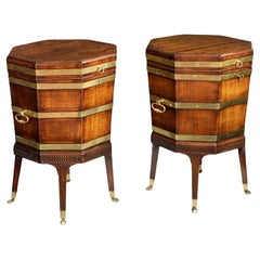 Rare pair of 18th century mahogany wine coolers/cellerets