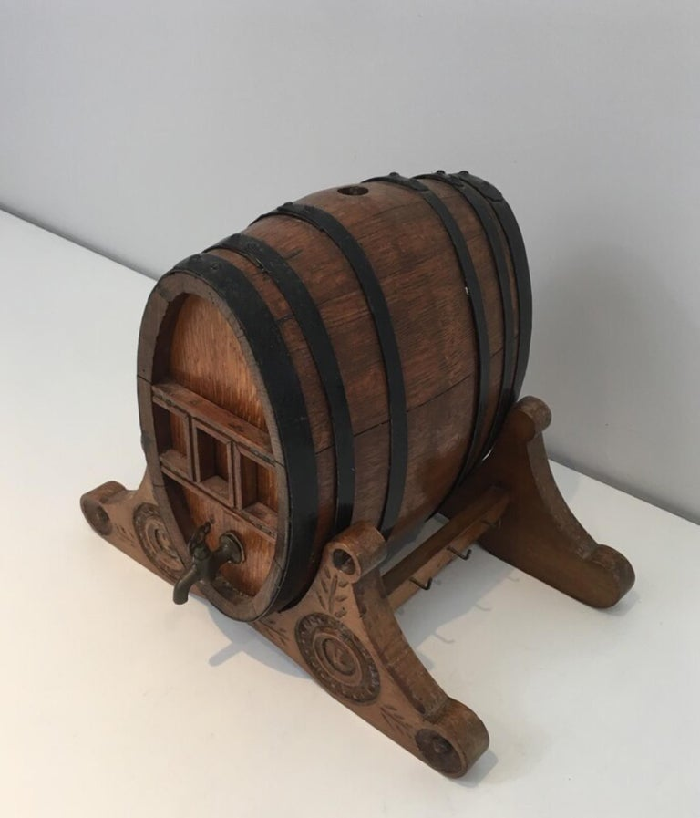 Wine Decanter Presenting a Small Wine Barrel with Brass Tap. French Folk Art For Sale 3