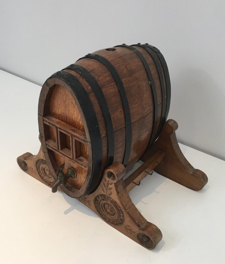 Wine Decanter Presenting a Small Wine Barrel with Brass Tap. French Folk Art For Sale 4
