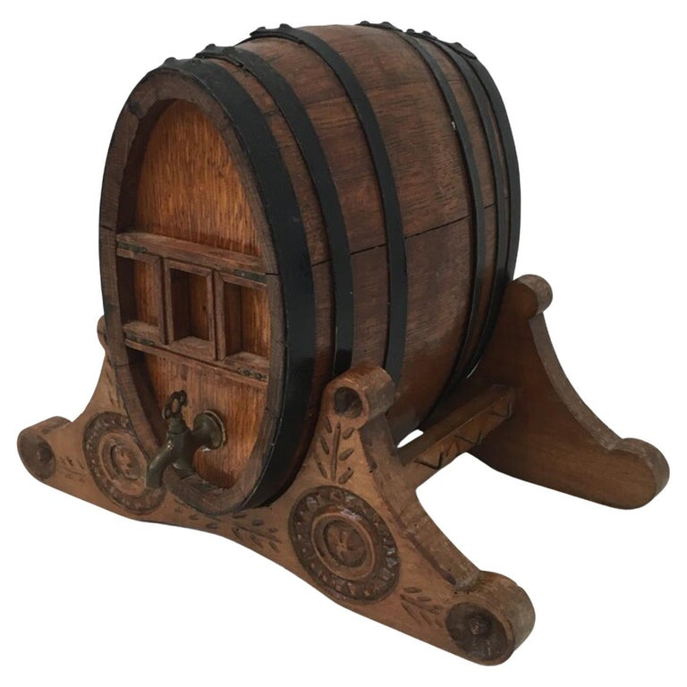 Wine Decanter Presenting a Small Wine Barrel with Brass Tap. French Folk Art For Sale