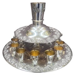 Wine Fountain in .925 Sterling Silver and 18 Karat Gold-Plated Inside Each Cups