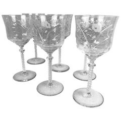 "Wine Glasses by Rock Sharpe-Set of Six ""Burleigh"" Pattern"