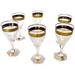 Wine Glasses/Goblet Art Nouveau Hand Blown, Gilded Copenhagen, Moser, circa 1909
