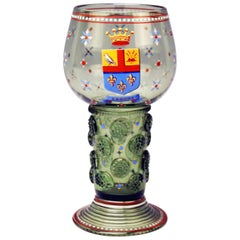 Wine Green Glass Enamel Paintings Coat of Arms by Lobmeyr Vienna circa 1910-1915