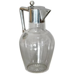 Wine or Water Carafe Glass Silver Mounted, German, 1920