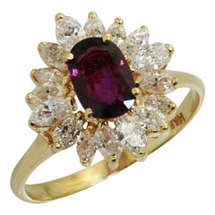 Wine Red Garnet Marquise Diamond Yellow Gold Ballerina Ring