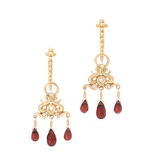 Wine Red Garnet Medusa Drop Earrings in 18 Karat Gold