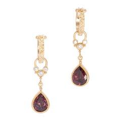 Wine Red Zircon Teardrop Earrings in 18 Karat Gold with Diamonds