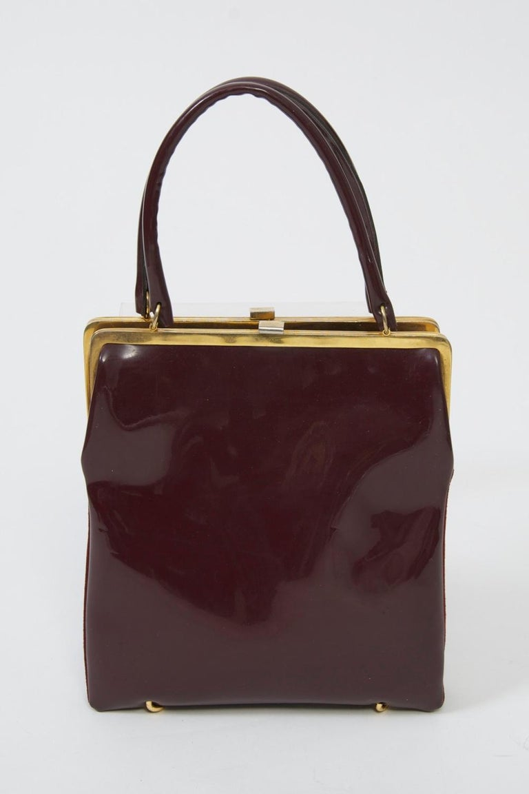 Brown Wine Reversible Suede/Patent Double Handbag For Sale
