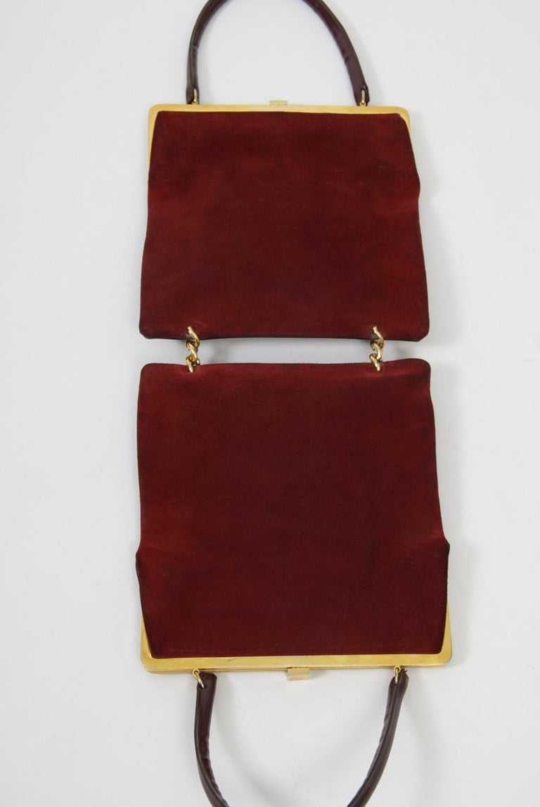 Wine Reversible Suede/Patent Double Handbag In Good Condition For Sale In Alford, MA