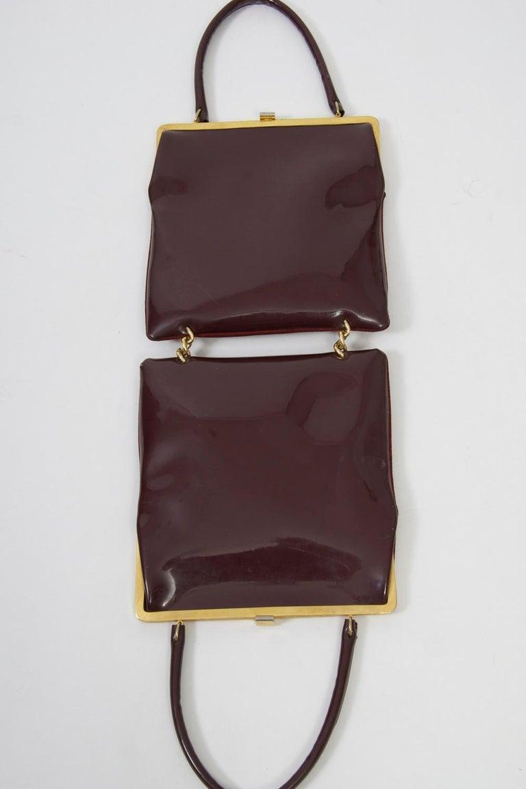 Women's Wine Reversible Suede/Patent Double Handbag For Sale