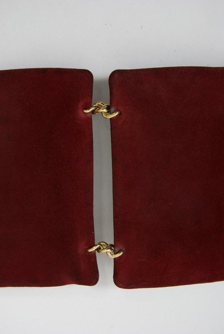 Wine Reversible Suede/Patent Double Handbag For Sale 1