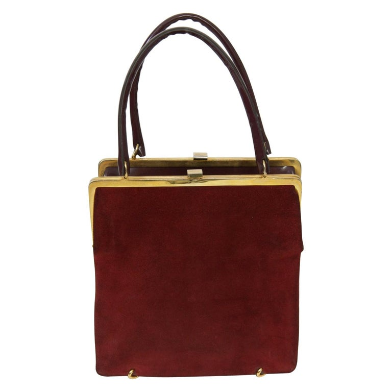 Wine Reversible Suede/Patent Double Handbag For Sale