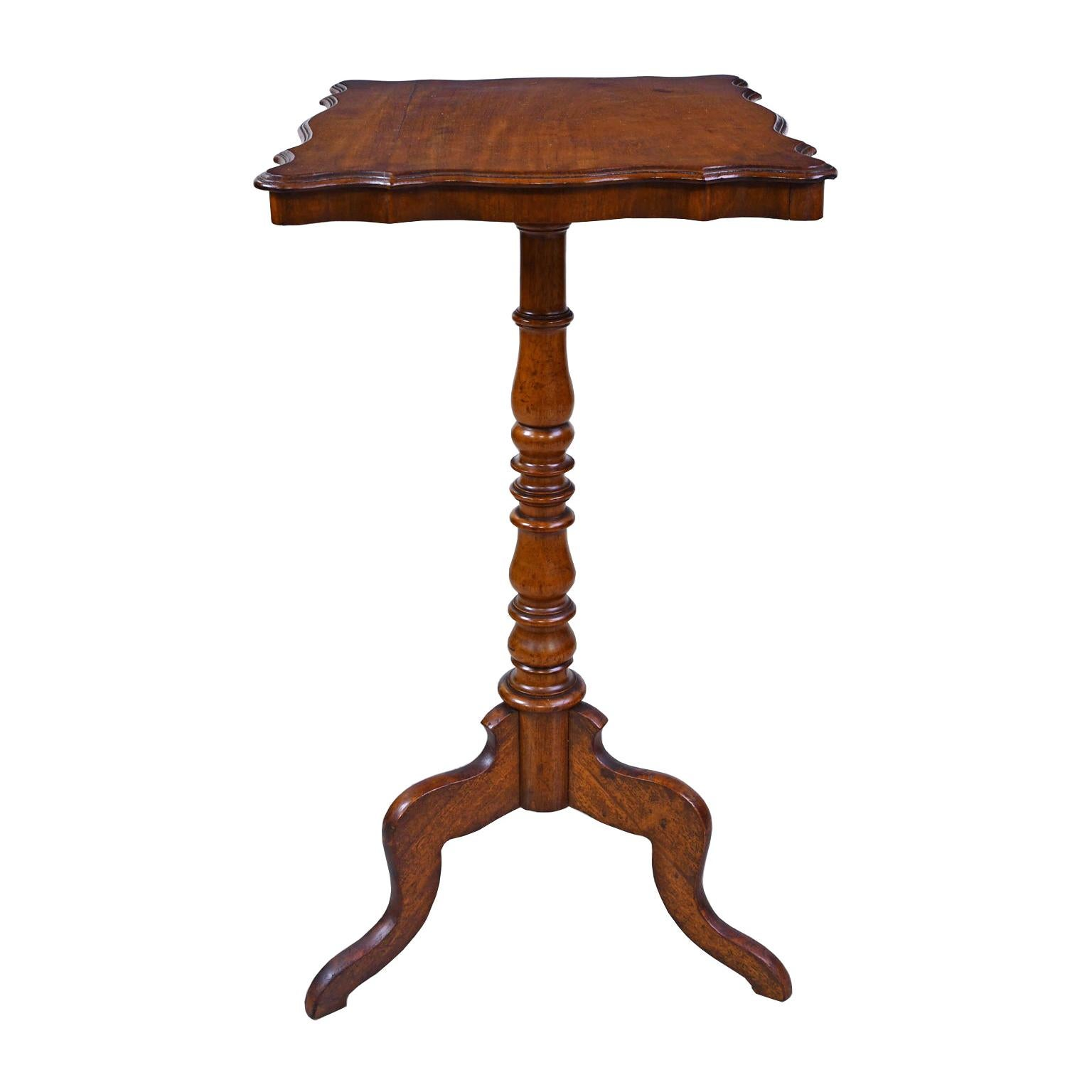 Wine Table/ Candlestand in Walnut with Pedestal on Tripod, European, circa 1825