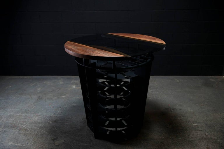 Canadian Wine Tasting & Storage Table, by Ambrozia, LiveEdge Walnut, Tinted Glass & Steel For Sale