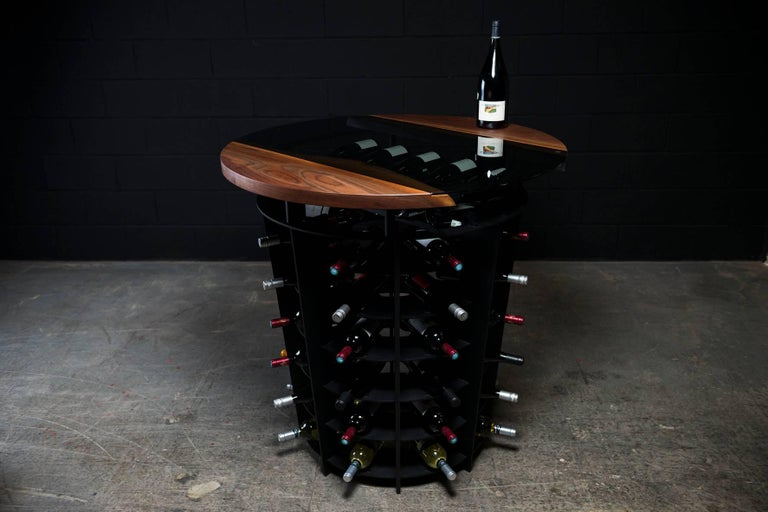 Wine Tasting & Storage Table, by Ambrozia, LiveEdge Walnut, Tinted Glass & Steel In New Condition For Sale In Drummondville, Quebec