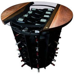 Wine Tasting & Storage Table, by Ambrozia, LiveEdge Walnut, Tinted Glass & Steel