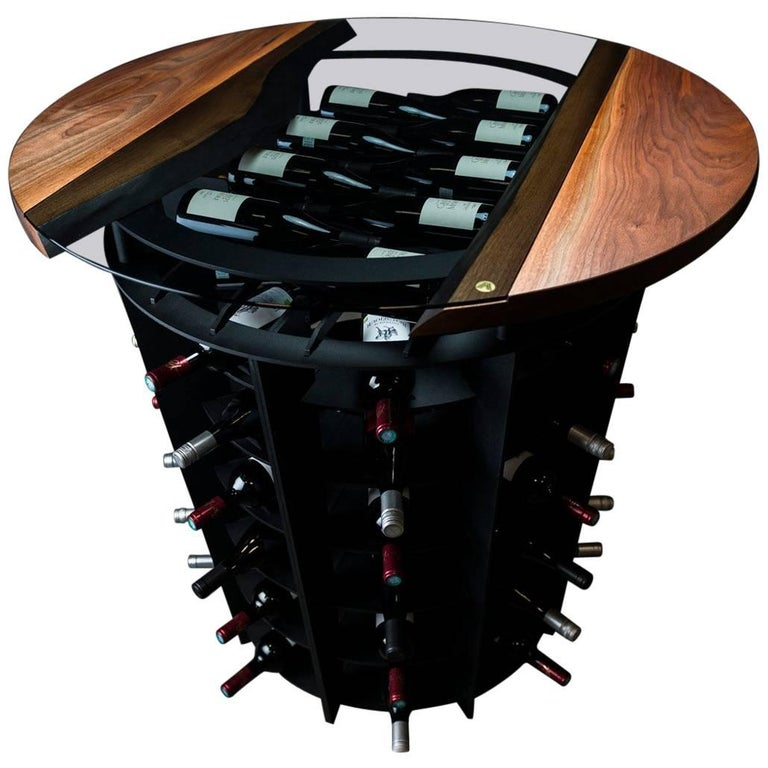 Wine Tasting & Storage Table, by Ambrozia, LiveEdge Walnut, Tinted Glass & Steel For Sale